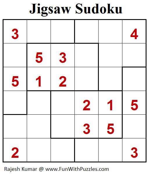 Jigsaw Sudoku Puzzle (Mini Sudoku Series #102)