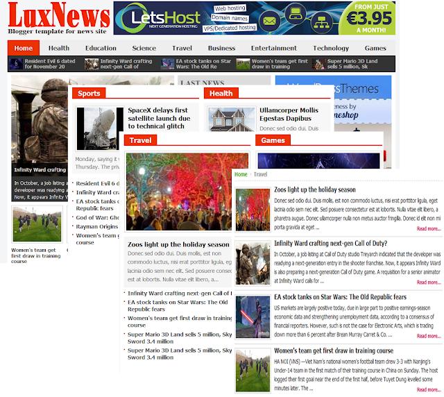LuxNews Template tin tức miễn phí chuyên nghiệp