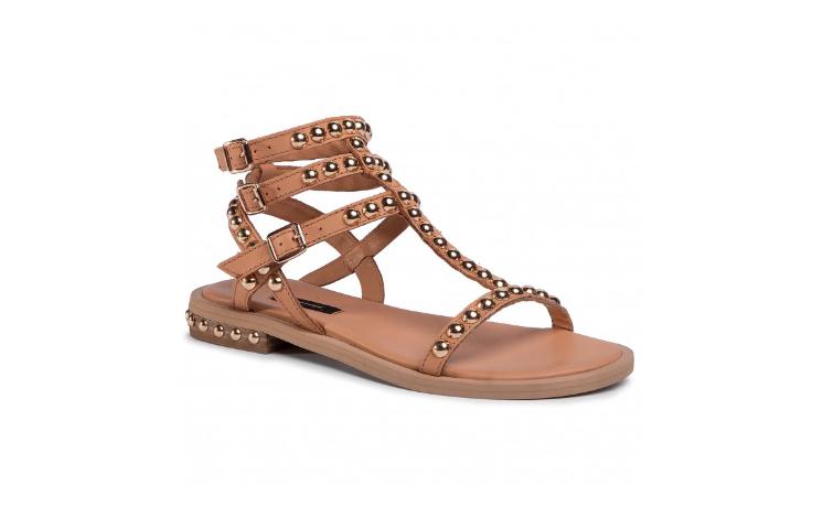 Sandale camel din piele naturala cu talpa joasa si barete dese GINO ROSSI