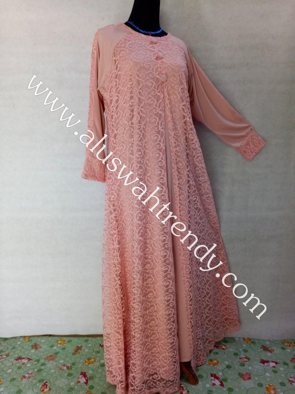 Gamis Muslimah 015 Bahan Kaos Kombinasi Brokat
