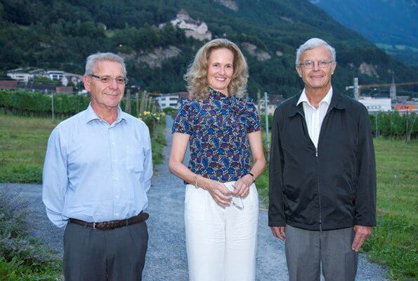 Hereditary Princess Sophie of Liechtenstein attended the 75th anniversary of the Liechtenstein Red Cross. Sophie wore a floral print blouse