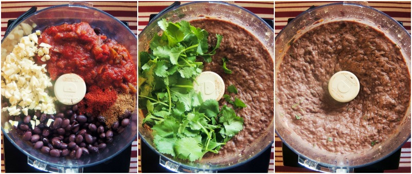 Chipotle Black Bean Dip in a food processor showing the stages of blending
