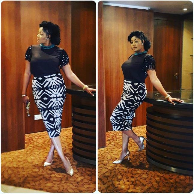 Actress Angela Okorie stuns in print dress