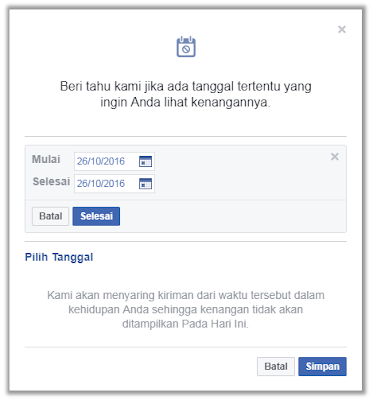 cara setting facebook pengingat kenangan