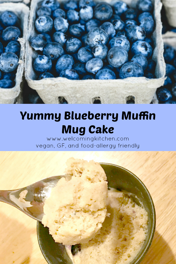Vegan Blueberry Muffin Mug Cake (GF and Food-allergy Friendly) - www.welcomingkitchen.com