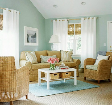 coastal cottage neutral color scheme - Coastal Living Room