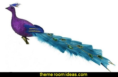 Peacock Bird Clip-On Christmas Ornament   peacock color Christmas decorating - peacock color decorations - peacock themed Christmas - Peacock Tree Theme - peacock christmas tree decorations - Peacock Decorations - Peacock Tree Theme decorating Christmas Peacock - christmas feathered Peacock Christmas Ornaments - Peacock themed Christmas