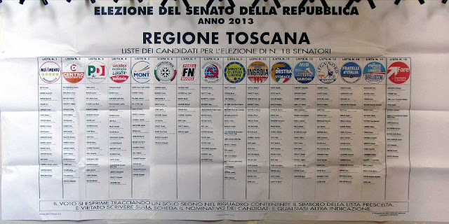 Senate lists poster, Election 2013, Livorno