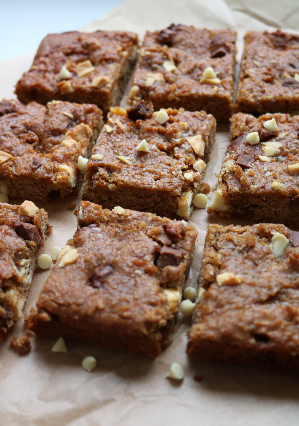 Chocolate Chunk Chickpea Blondies - Gluten Free & Vegan - Hungry Little Bear