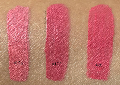 Most Affordable Liquid Lipsticks in India Miss Claire Soft Matte Lip Creams Shades 15A 17A 08 Review Lip Swatches