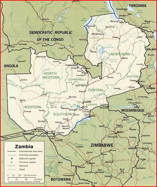 Gambar Peta politik Zambia