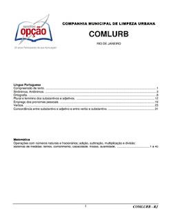 índice apostila Comlurb RJ 2017