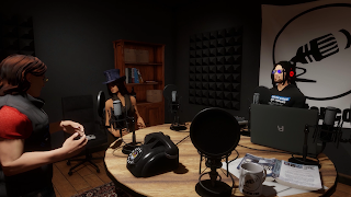 Draxtor Depres (aka Bernhard Drax) shown in his recording studio in the virtual world of Sansar