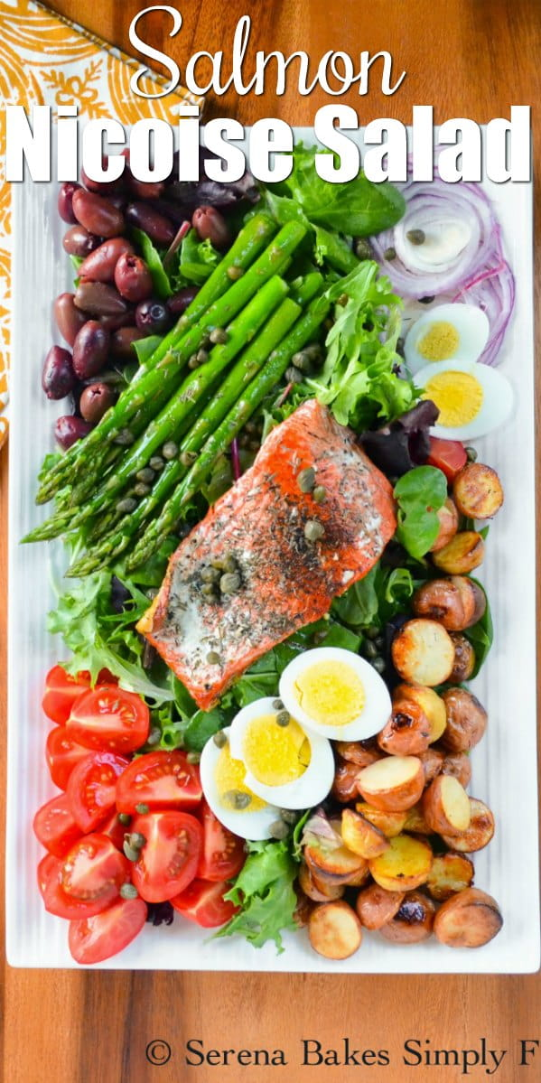 Salmon Nicoise Salad is an all time favorite healthy easy dinner salad recipe from Serena Bakes Simply From Scratch.
