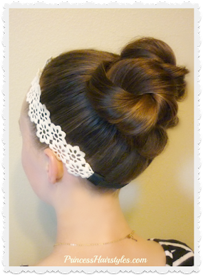 Hair tutorial, triple twist messy bun with headband.