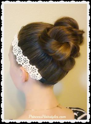 Hair tutorial, triple twist messy bun with headband.