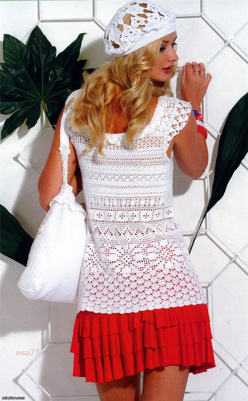 лето по французски туника берет и сумка вязание крючком и спицами
