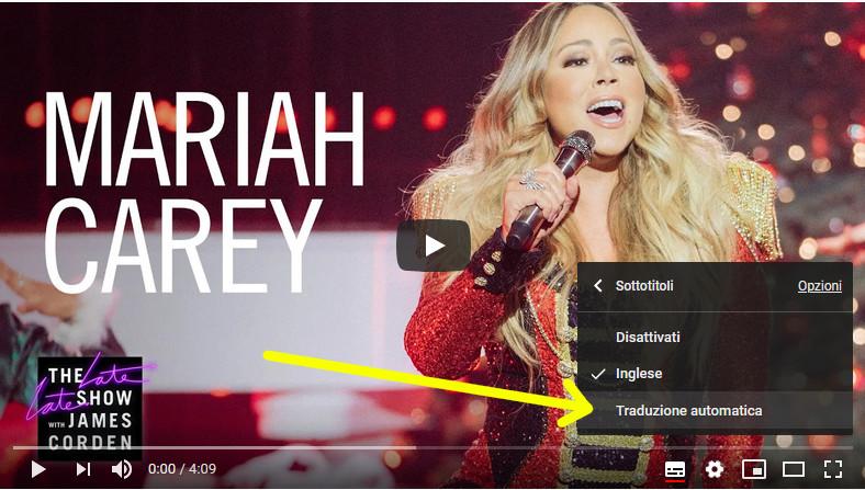 Opzioni scelta lingua sottotitoli video Youtube