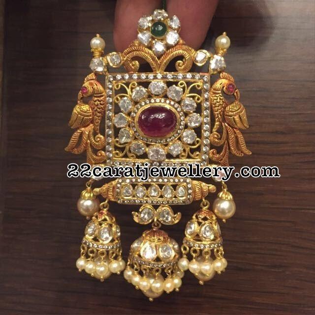 Jhumka Style Pachi Pendant Chandbalis