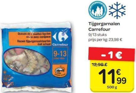 1 pak grijze tijgergarnalen uit de diepvries van Carrefour
