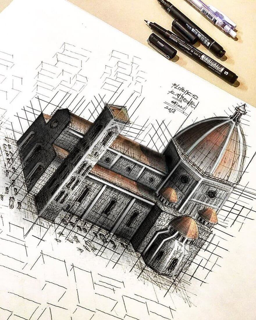 04-Cathedral-Santa-Maria-Del-Fiore-Erfan-Hasankhani-Ink-and-Color-Architectural-Drawings-www-designstack-co