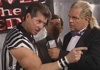 WWF - Over the Edge 1998 Review - Mr McMahon prepares for his special referee role in the Austin/Dude Love match