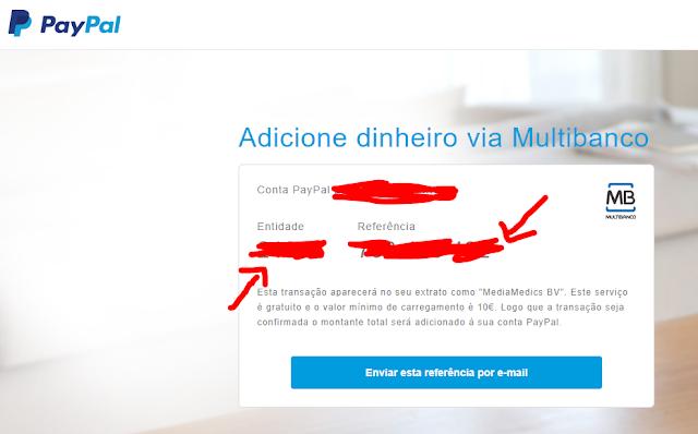 Paypal através do multibanco