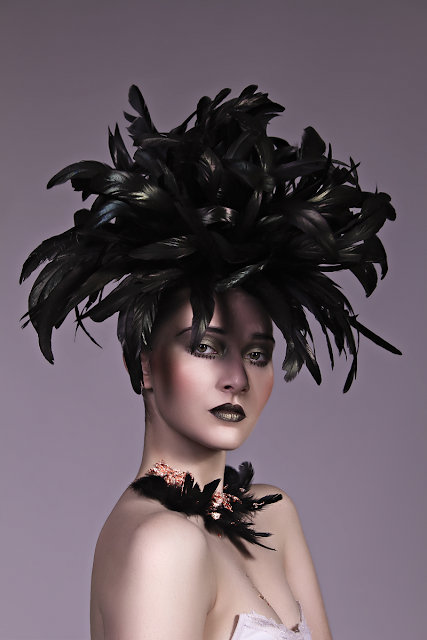 Mystic Magic, Hunger Games, Fashion, Avant Garde, couture, creative makeup, photography, photo, futuristic fashion, ascot head wear, headpiece, royal ascot, inspirational, creative, high fashion, feathers, dark beauty, gothic,