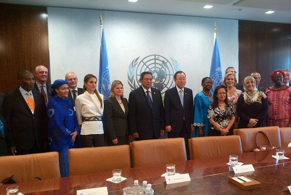 Queen Rania of Jordan attended a meeting about the High-level Panel Report on Post-2015 Millennium Development Goals