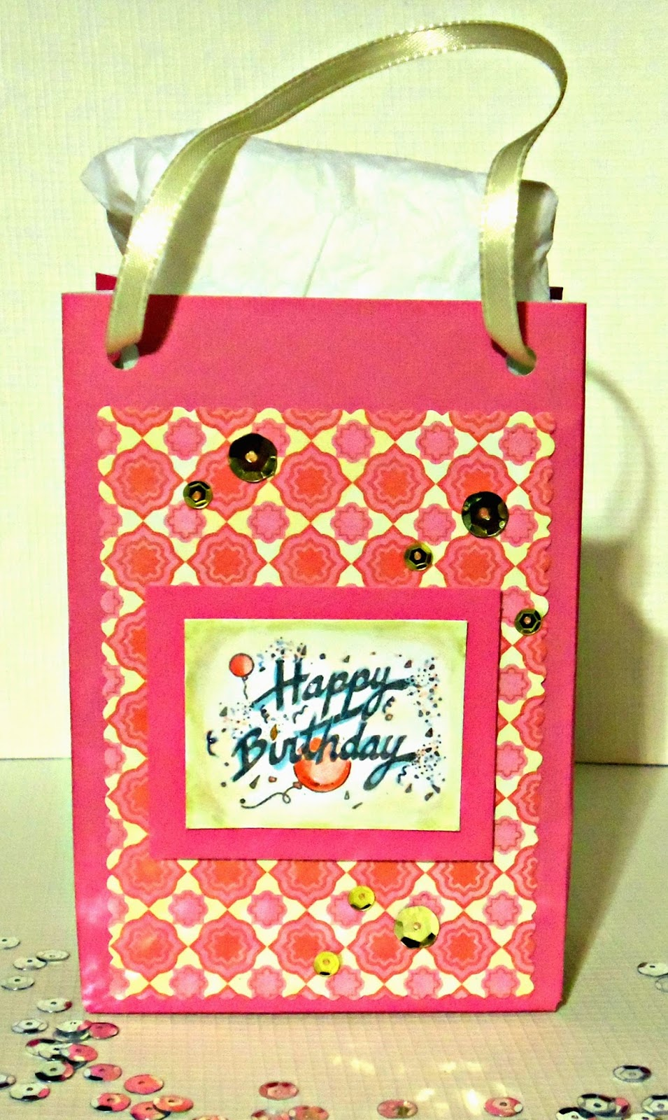 Their Inaugural Challenge Theme This January Is Birthday Pink Card Base Any Themed Craft Project Eligible So I Made A Gift Bag Using