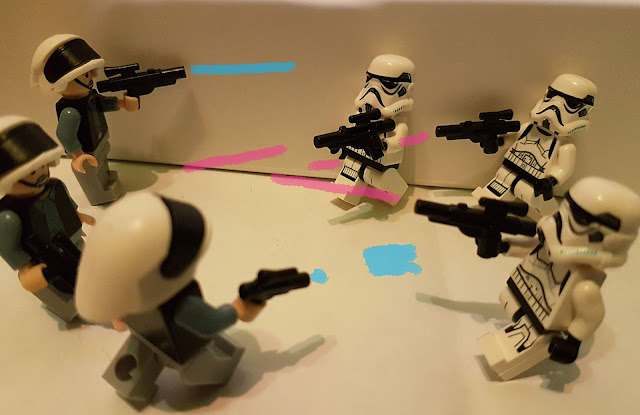 rebels skirmish with the stormtroopers of the Empire, A New Hope lego Star Wars