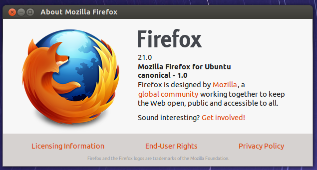Upgrade to Firefox 21 in Ubuntu 13.04
