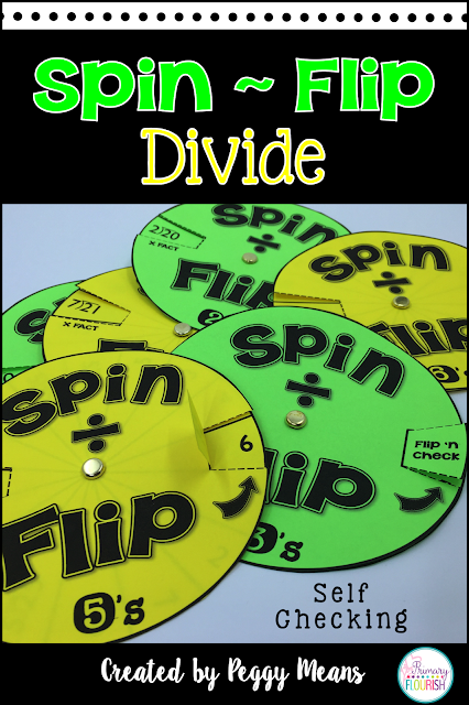 Increase math fact fluency in division with these fun Spin and Flip Spinners.  They are self-checking so they are great for independent practice and even homework.