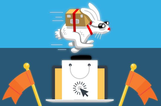Ilustração: Entrega Automática (Um coelho correndo com entrega)