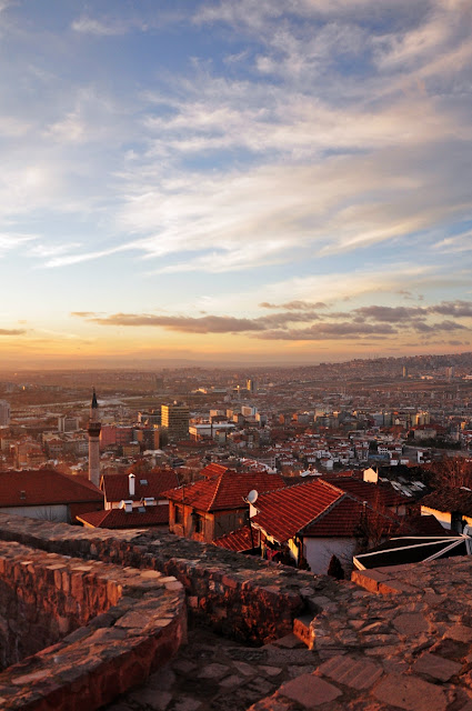 Sunset in Ankara seen from the citadel, Turkey