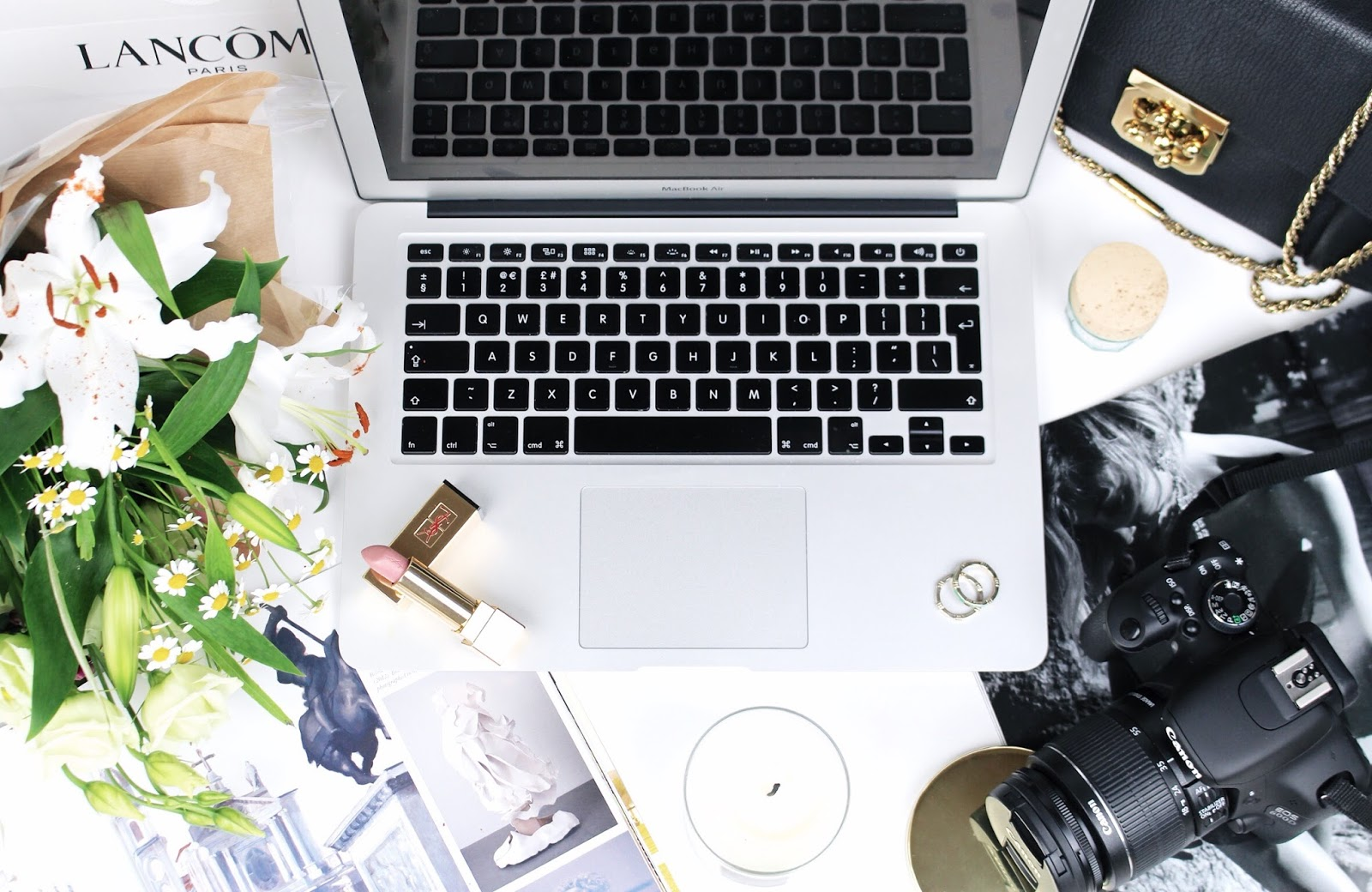 Busy desk flatlay - chic ways to revamp your home office