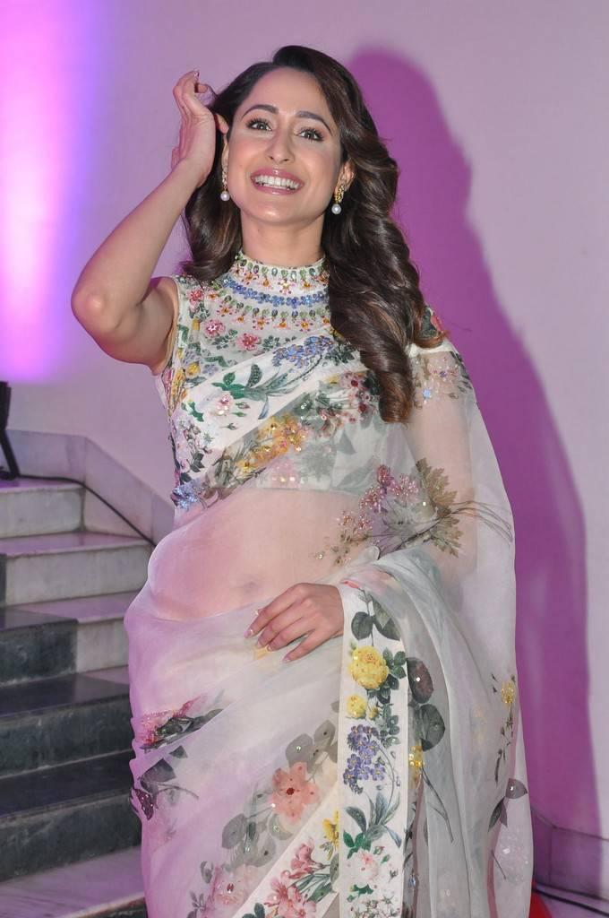 Pragya Jaiswal In White Saree At TSR Kakatiya Cultural Festival 2018