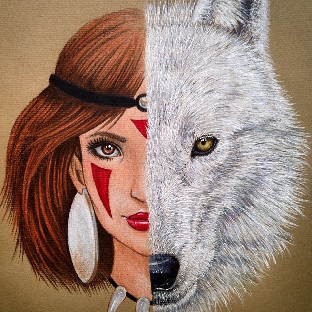 07-Princess-Mononoke-and-Moro-no-Kimi-Dada-Hayao-Miyazaki-Disney-and-Animé-in-Colored-Drawings-www-designstack-co