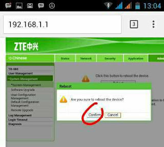 Reboot router di android