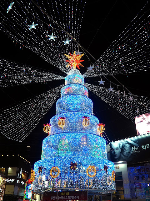 Giant Christmas tree of lights in Nampo, Busan, South Korea