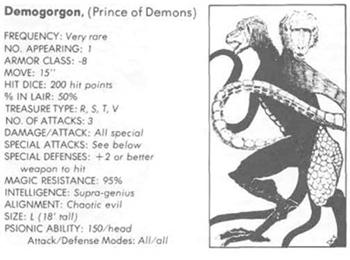 Resultado de imagem para demogorgon d&d 1th edition