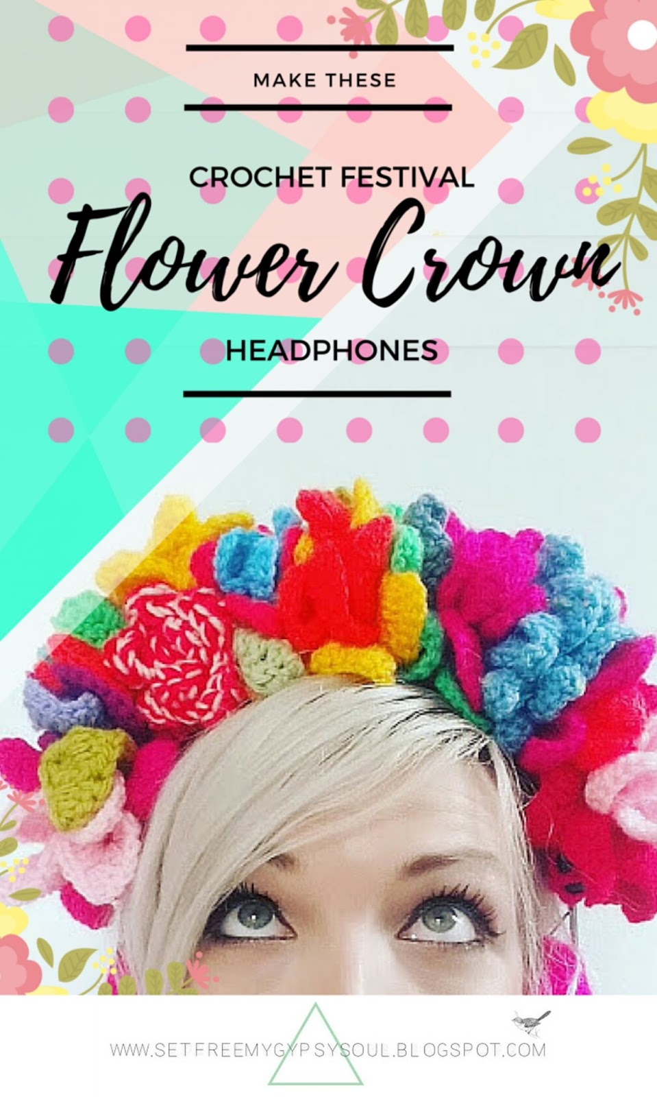 flower crown crochet heaphones earphones bright boho bohemian hippie fashion