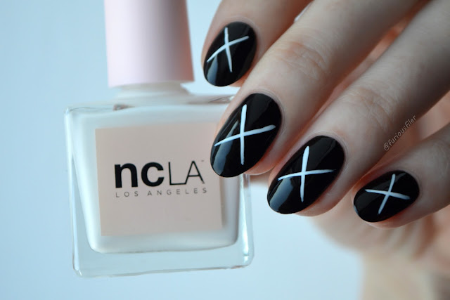 unistella inspired nail art black and white minimalist