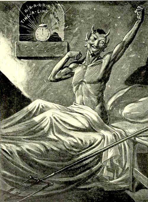 Illustration of devil waking up, from Life Magazine, March 1909