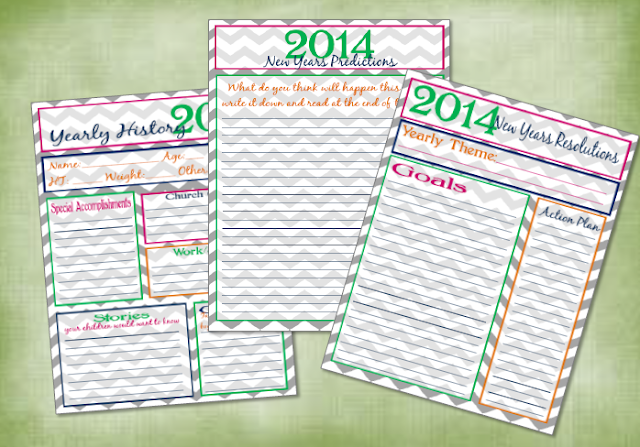 2014 New years resolutions printables free