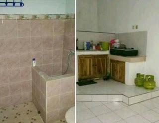 Kamar mandi dan dapur di rumah Jl. Kapi Mantasta I Blok 17L No. 3, Sawojajar 2, Malang