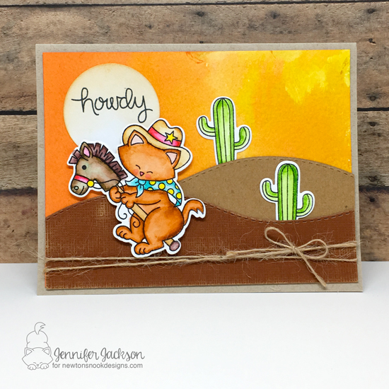 Howdy! Cowboy Kitty card by Jennifer Jackson | Newton Rides West Stamp Set by Newton's Nook Designs #newtonsnook #handmade