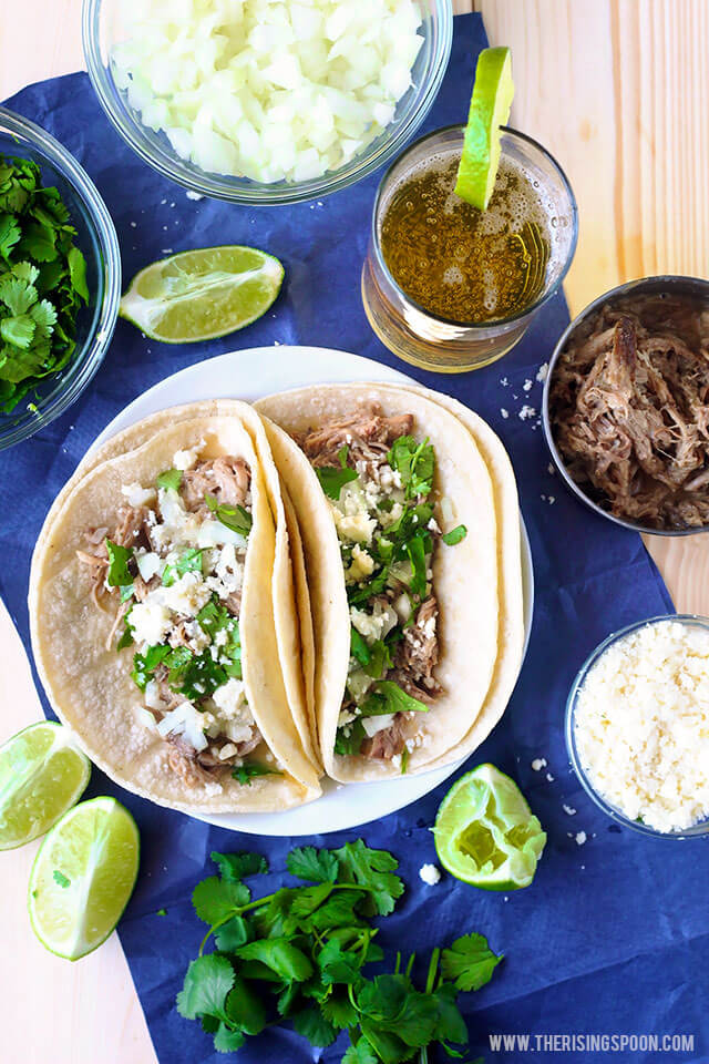 Carnitas Tacos with Slow Cooker Pork Shoulder