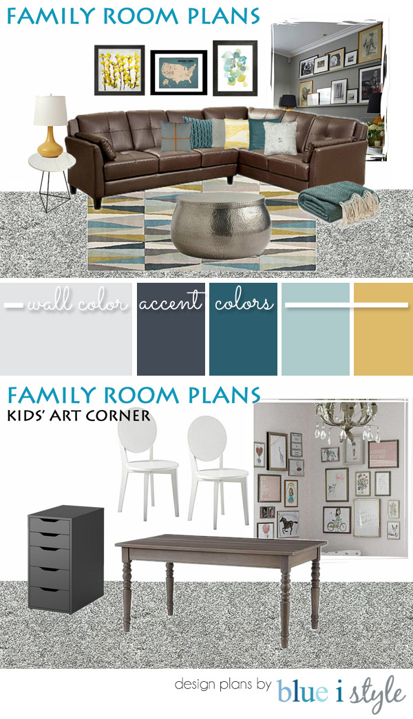Family room design plans gray brown teal yellow gold