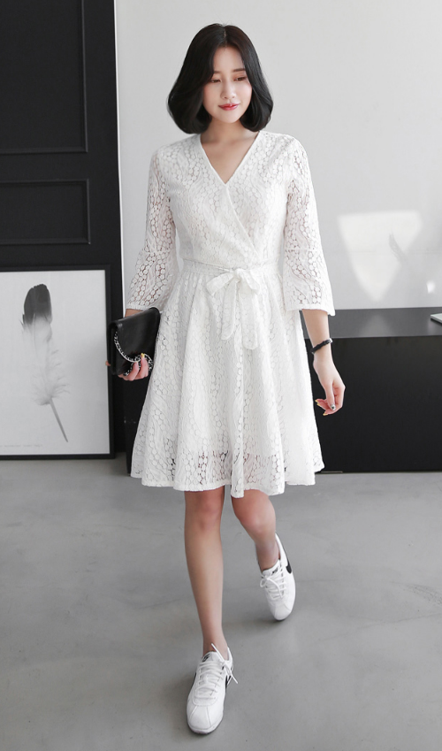 Surplice Neck With Self-Tie Belt Lace Dress